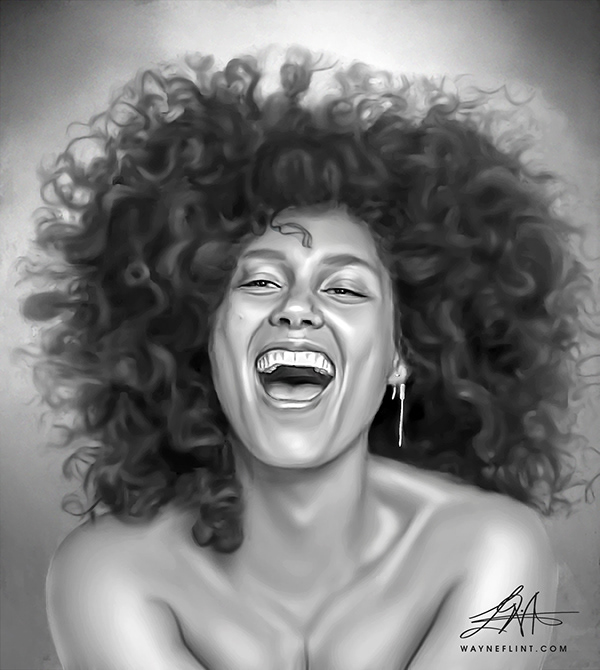 Alicia Keys Digital Painting by Wayne Flint