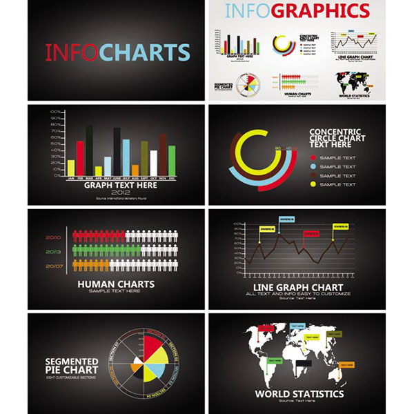 free vector black infographic chart template design ele on behance