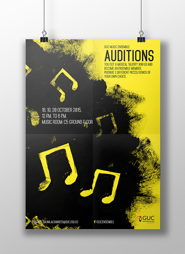 GUC Music Ensemble Auditions Poster