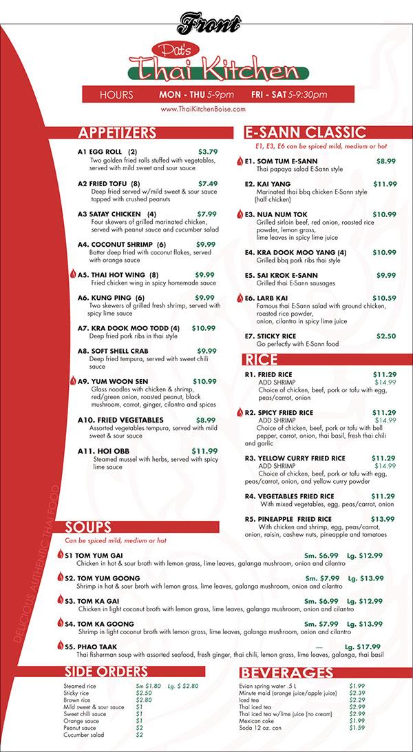 pat's thai kitchen menu design on behance