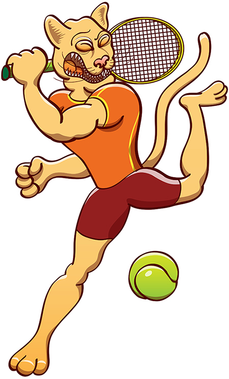 Athletic puma smashing the ball in a tennis match