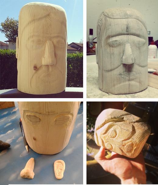 toys head wood handmade grey 3D face