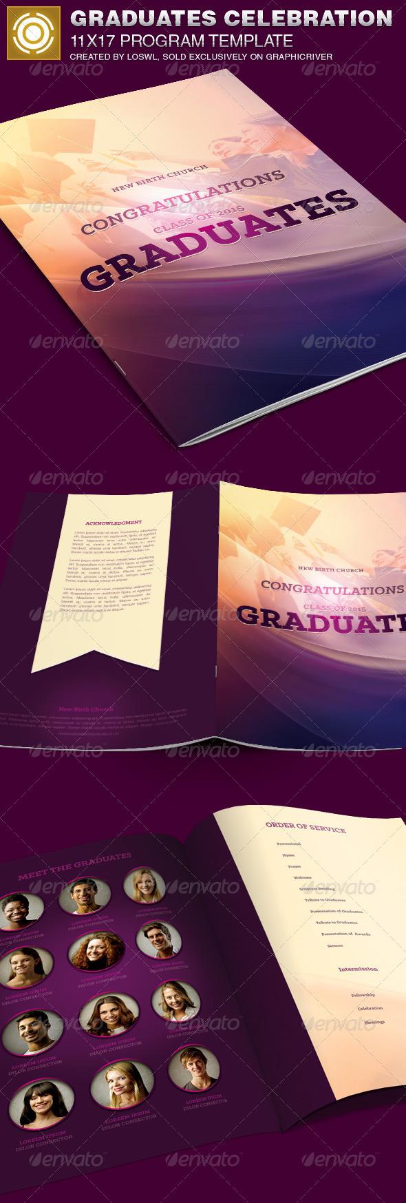 graduates celebration church program template on behance