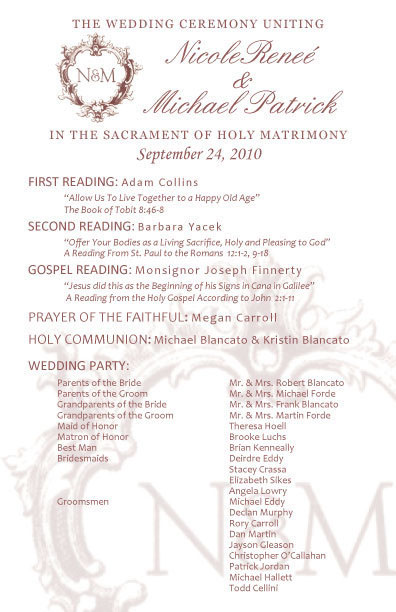 Church Program for Wedding on Behance