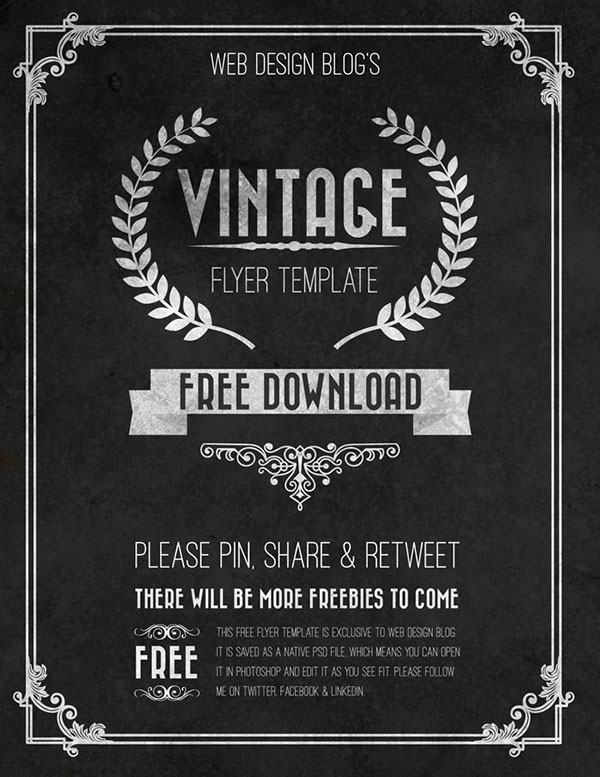 Free Vintage Flyer Template Psd On Behance - Free templates for brochures and flyers