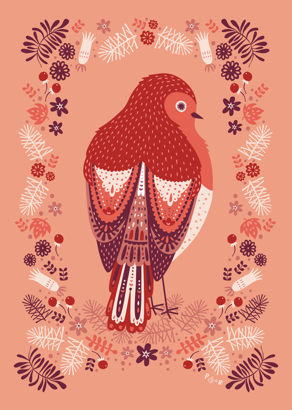 Retro whimiscal Playful Colourful  Nature animals birds florals Flowers folk