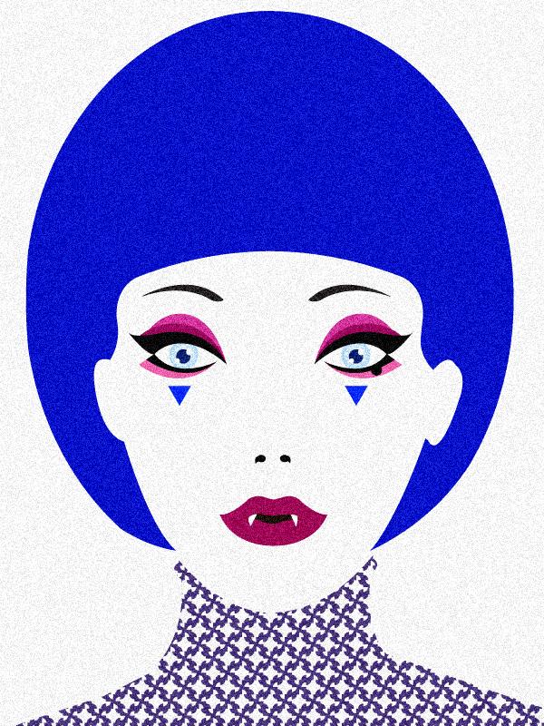 Adobe Portfolio make-up vampire girl vector colorful