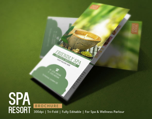 Spa Resort Tri Fold Brochure Template On Behance - Spa brochure templates