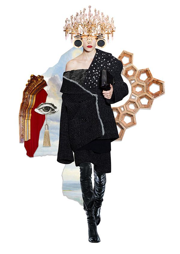 Fashion collage illustration for Harper's Bazaar Russia