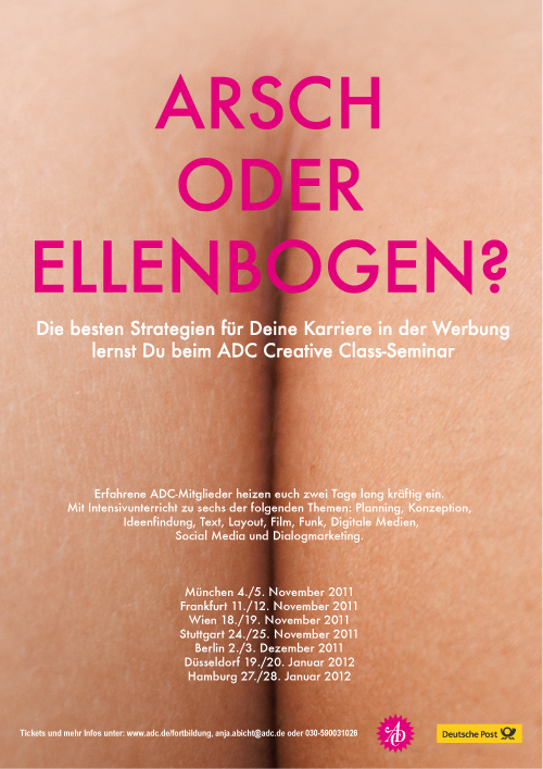 ADC poster culo o codo ass or elbow kreative classes creative classes germany berlin alemania cartel culo codo