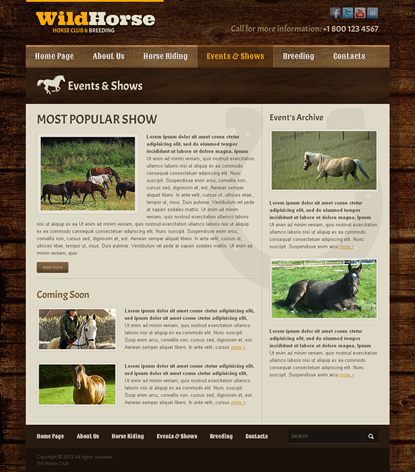 Wild Horse Club & Breeding Bootstrap HTML Template on Behance