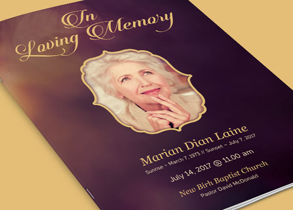 In Loving Memory Funeral Program Template On Behance  Funeral Flyer Template