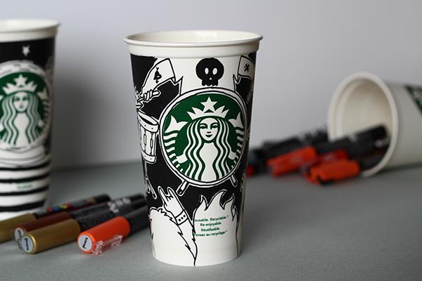 starbucks reusable cup illustrations on behance