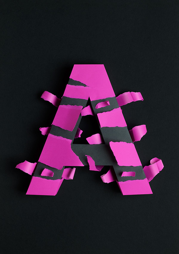 papercraft paper lobulo atype letters typo