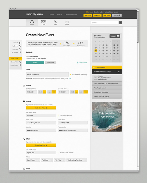 Event listing list Fluid grid yellow user interface user experience