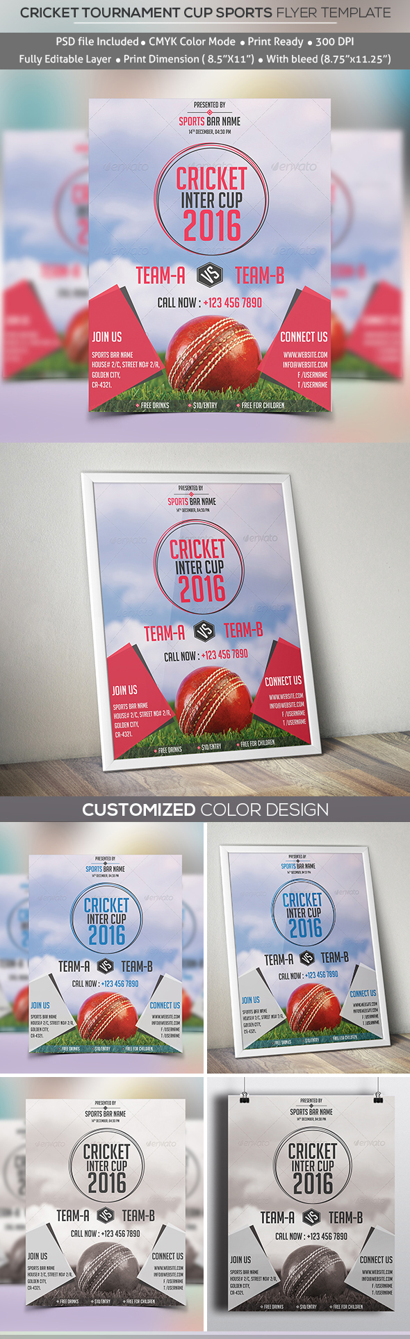 Cricket Tournament Cup Sports Flyer Template On Behance