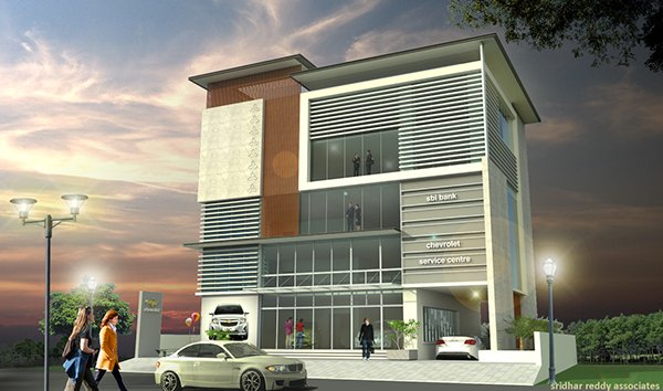 Front Elevation Commercial : Proposed commercial complex banjara hills hyderabad on