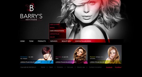 Barrys Hair studio website on Behance