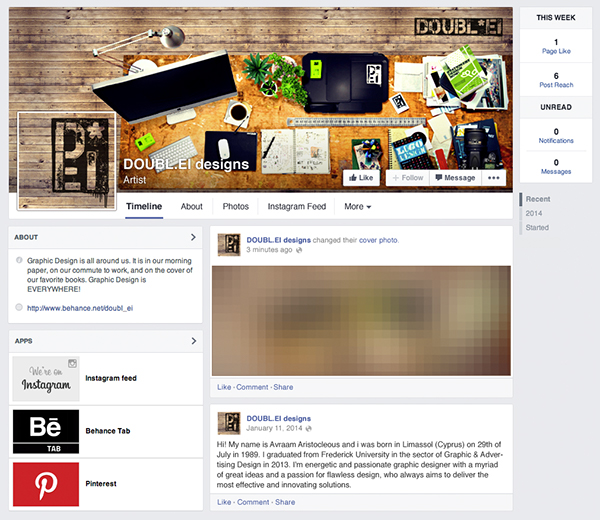 Facebook cover picture designers desk on student show for Interior design facebook pages