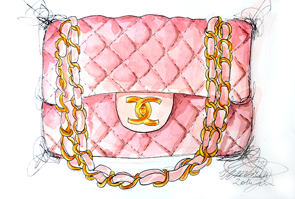 Chanel Bag Illustration Chanel Pink Flap Bag