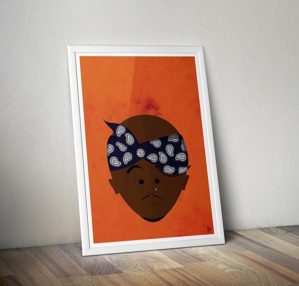 tupac shakur better days hip hop Illustrator cartoon Bandana portrait