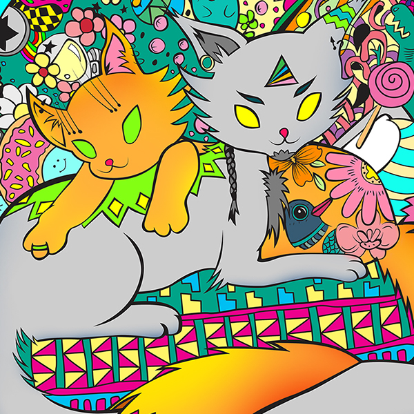 kitty  Kitties print madness sticker art colorful color present conferno nucleacore