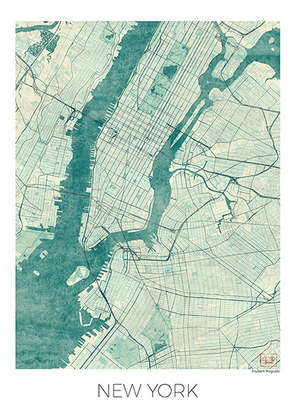 New york us blue vintage watercolor map poster on behance gumiabroncs Images