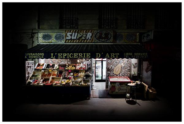 night photography paris by night paris night night architecture urban oasis richard vantielcke ludimaginary night photo urban photography Grocery store épicerie d'art oasis urbaine empire des lumières photographie de nuit magritte