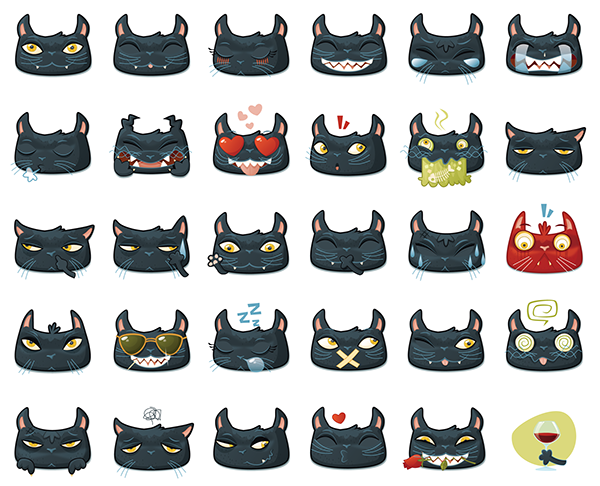 Black Cat Emojis on Behance