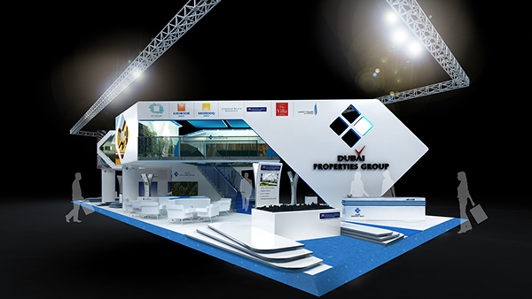 Exhibition Stand Behance : Dubai properties group exhibition stand visualization on behance