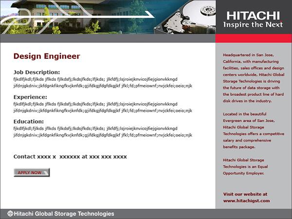 monster job posting web page template for hitachi gst on behance. Black Bedroom Furniture Sets. Home Design Ideas