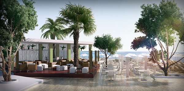 beach  bar exterior design visualisation rendering day scene