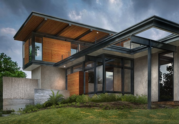 exterior modern corona 3d max house design