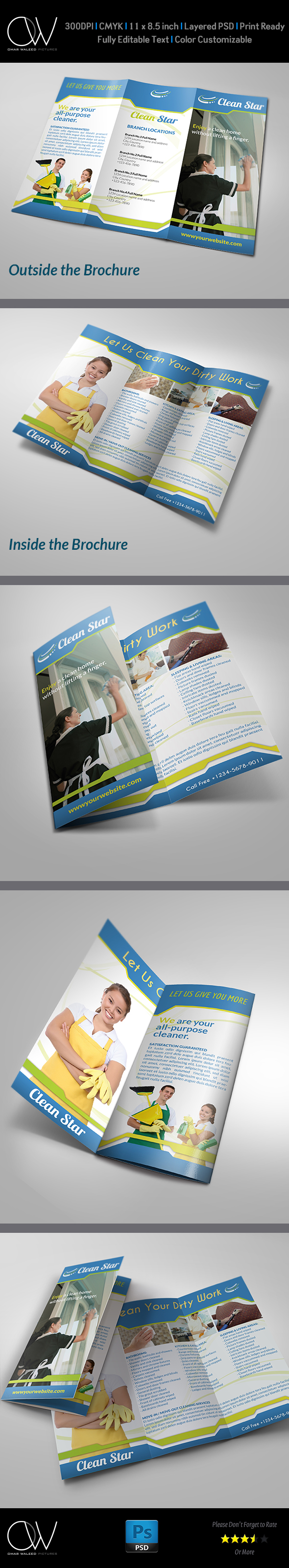 cleaning services tri fold brochure on behance