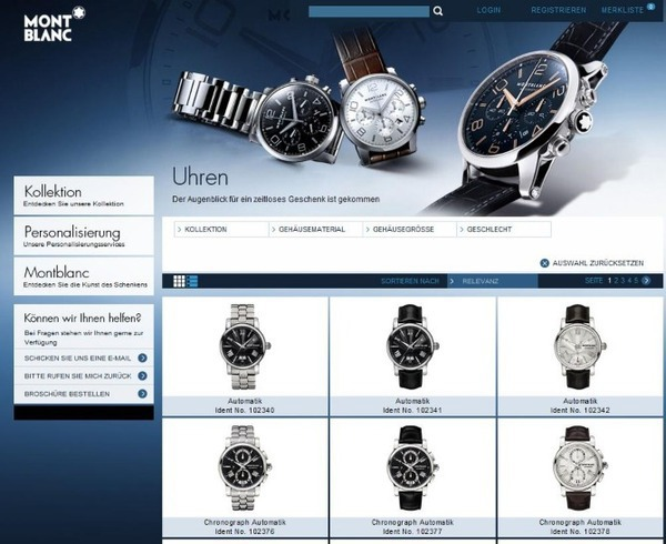 Relaunch of the digital corporate gift store from Montblanc Objective: Enhanced usability and conversion optimization