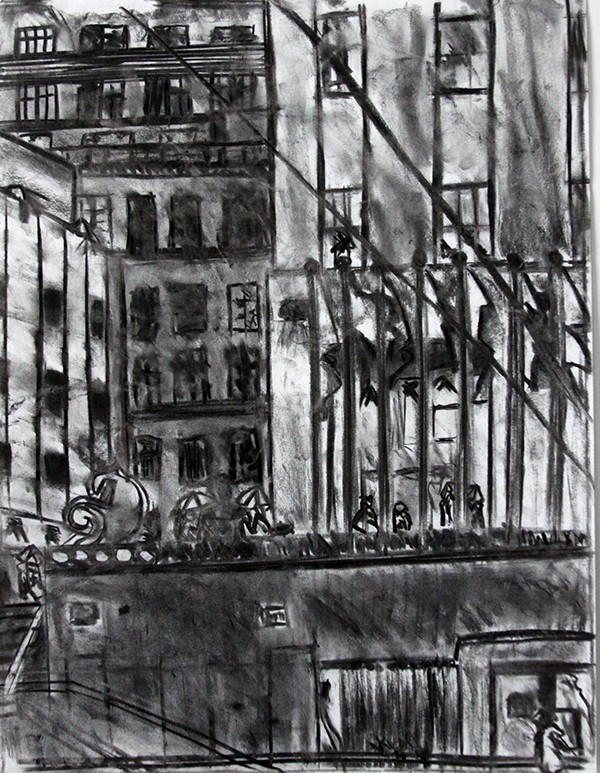 Charcoal And Graphite Drawings Of Nyc Locations On Behance