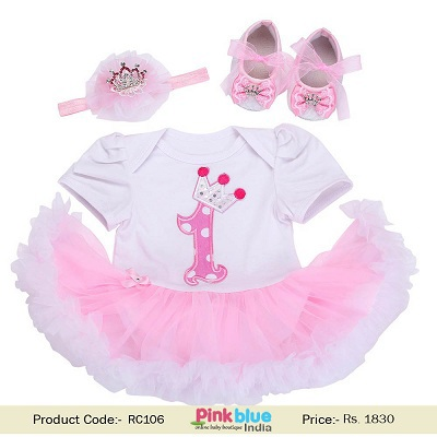 5427316a0fcd Most amazing pink and white color 3 piece cake smash outfit for newborn girl  with crown headband with shoes for 1st birthday party.