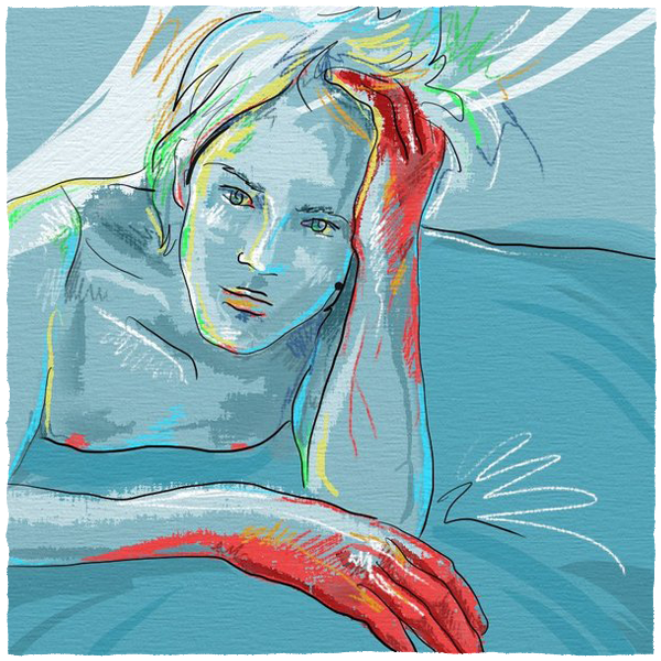 girl  boy  nude  draw  red  blue  hands   pain art