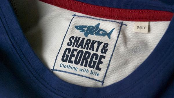 sharky and george, logo design, ecommerce site, clothing, shark logo,kids clothing brand