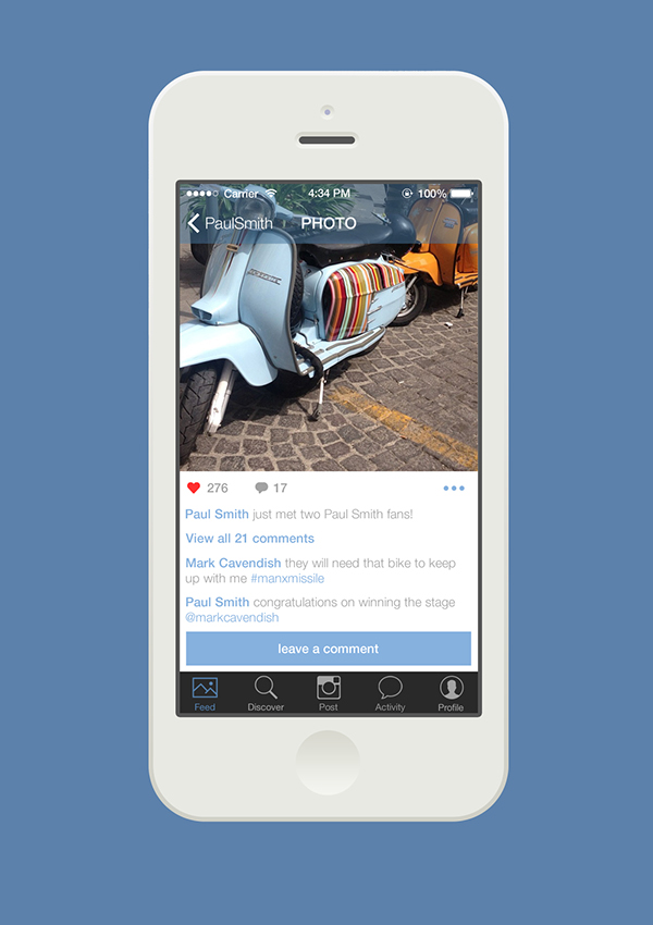 insta instagram UI ux profile social iphone mac app ios7 feed pictures share redesign flat