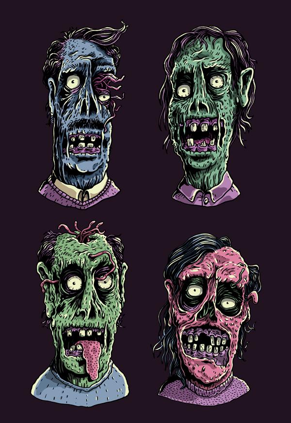 zombies gatotonto zombis zombi zombie inking Full Color t-shirt t-shit printing impresión de camisetas