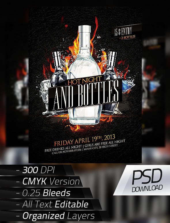 Models And Bottles Flyer Hot Night Bottles Flyer on