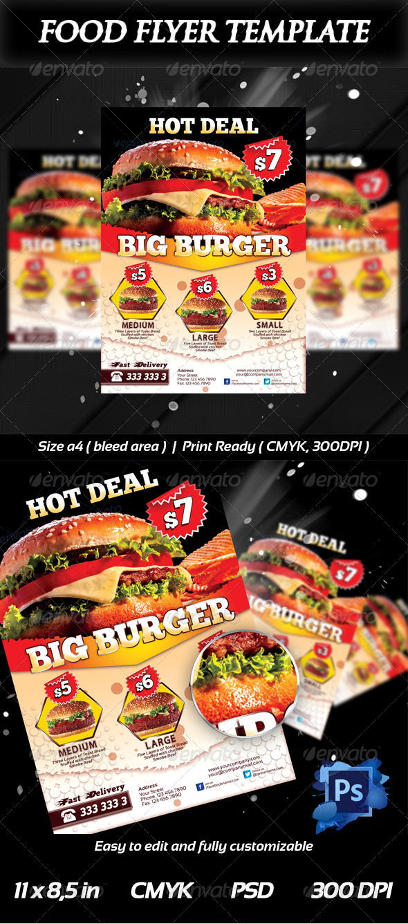 Fresh Burger Food Flyer Templates On Behance