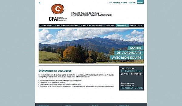 CFA logo papeterie orange bulle bubble Website design web