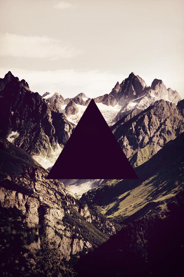 mountain Ocean Nature geometry minimal rise design