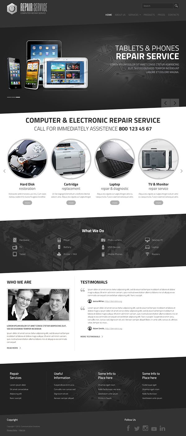 Pc Repair Service Html Template On Behance