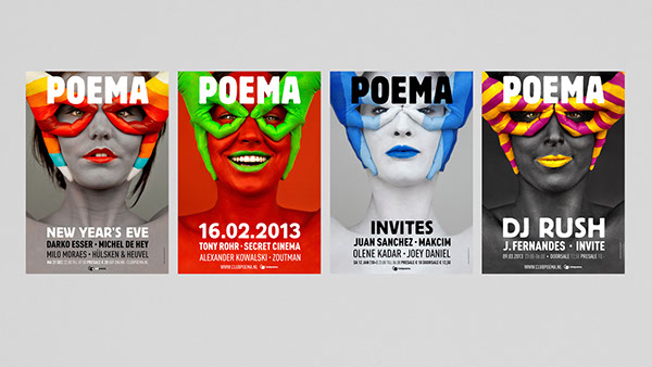 posters  paint  campaign  poster  poema  club  Music  club poema  utrecht techno portrait pictures