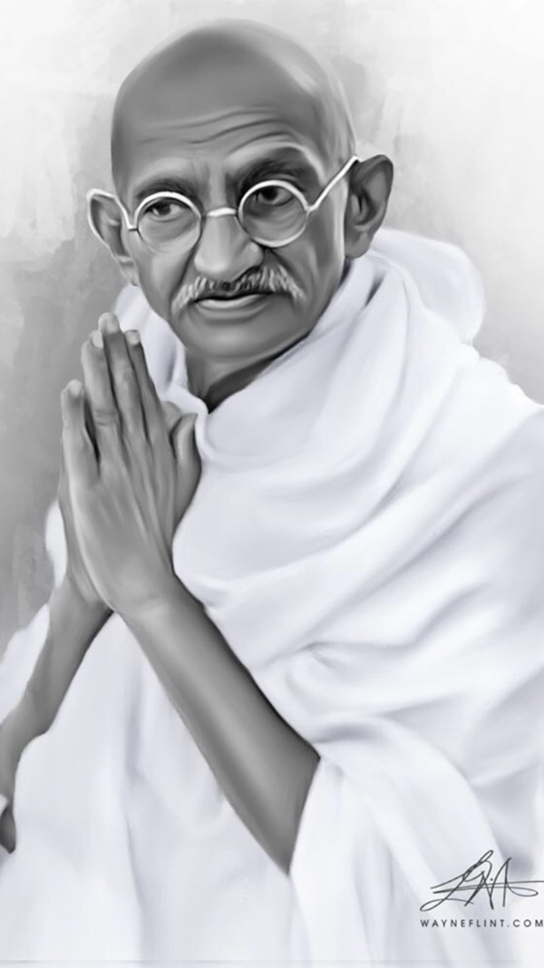 Mahatma Gandhi Digital Painting by Wayne Flint