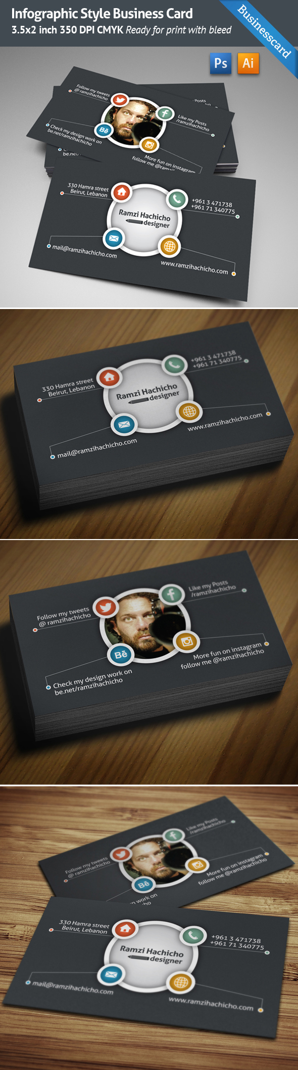 Infographic business card template on behance reheart Gallery