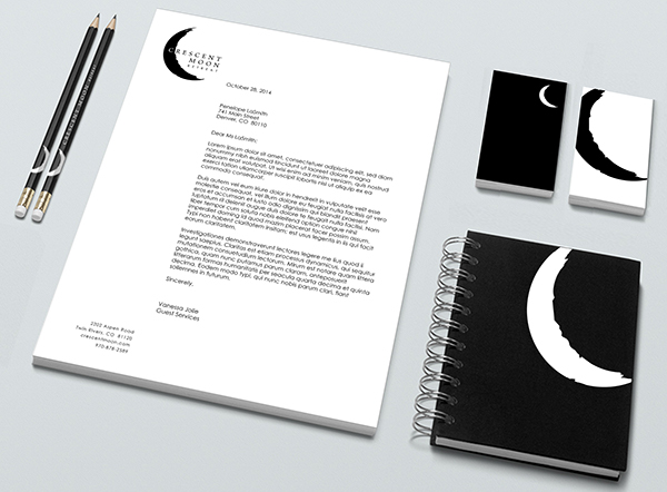 Crescent moon retreat brand development on behance business cards with die cut moon through which the white of the main part of the business card can be seen an enlarged moon logo graces the back of the colourmoves Images